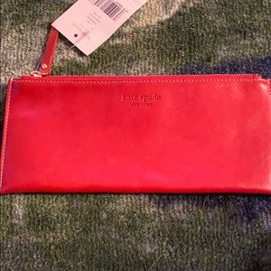 Kate spade red leather pencil case